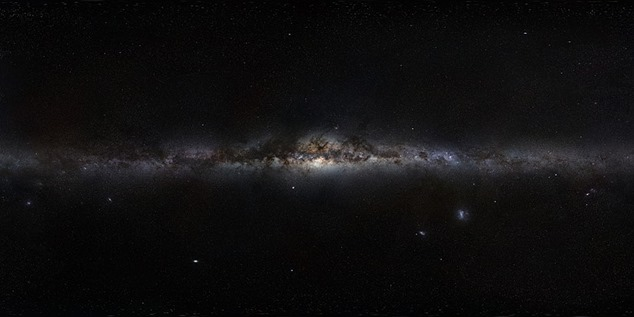 This magnificent 360-degree panoramic image, covering the entire southern and northern celestial sphere, reveals the cosmic landscape that surrounds our tiny blue planet. This gorgeous starscape serves as the first of three extremely high-resolution images featured in the GigaGalaxy Zoom project, launched by ESO within the framework of the International Year of Astronomy 2009 (IYA2009). The plane of our Milky Way Galaxy, which we see edge-on from our perspective on Earth, cuts a luminous swath across the image. The projection used in GigaGalaxy Zoom place the viewer in front of our Galaxy with the Galactic Plane running horizontally through the image — almost as if we were looking at the Milky Way from the outside. From this vantage point, the general components of our spiral galaxy come clearly into view, including its disc, marbled with both dark and glowing nebulae, which harbours bright, young stars, as well as the Galaxy's central bulge and its satellite galaxies. As filming extended over several months, objects from the Solar System came and went through the star fields, with bright planets such as Venus and Jupiter. For copyright reasons, we cannot provide here the full 800-million-pixel original image, which can be requested from Serge Brunier. The high resolution image provided here contains 18 million pixels.
