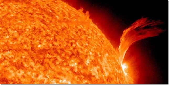 exceptionally heavy plasma eruption on the surface of the sun