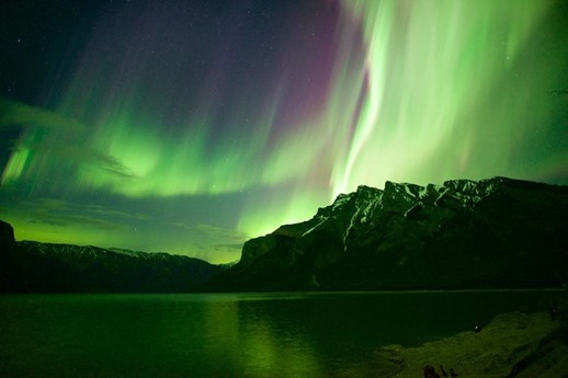 Aurora over lake Minnewanka